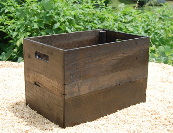 medium ebony wooden crate from reclaimed wood apple crates. Black Bedroom Furniture Sets. Home Design Ideas