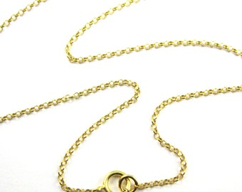 22K Gold plated Sterling Silver Chain, Long Necklace - 1mm Rolo Chain - Rolo Chain Necklace for Pendant - 30 inches (1 pc) SKU: 601016-VM-30