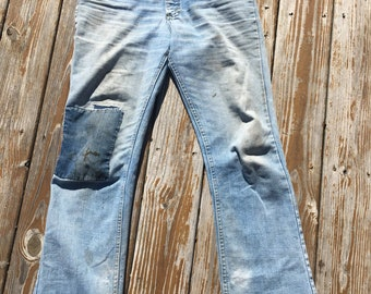 Amazing 1970s Vintage Lee Riders Denim Jeans Distressed Patched Repaired Slight Bell 34x31