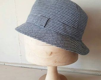 Men's Tweed Hat Houndstooth Grey Black