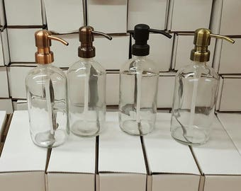 Clear Glass Soap Dispenser - Glass Bottle with Metal Soap Pump