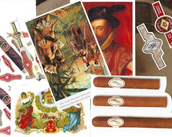 Cigar Clip Art Ephemera Snippets for Paper Arts, Scrapbooking, Decoupage, Mixed Media, Collage and MORE PSS 3441