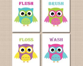 Owl Bathroom Wall Art,Owls Nursery Decor,Owl Wall Art,Owl Kids Bathroom Wall Art,Owl Bathroom Decor,Owl Theme Bathroom-UNFRAMED Set 4 B124