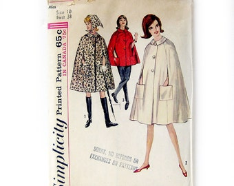 1960s Vintage Sewing Pattern CAPE with Pockets / Fall Coat / Cloak / Mod Cape Pattern / Head Scarf / Simplicity 5303 / Size 10