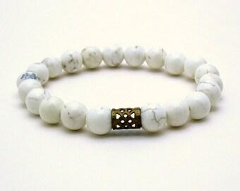 White Turquoise Modern Beaded Bracelet Magnesite Stretch Bracelet Mothers Day Under 40