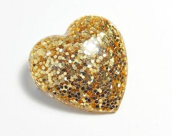 Gold Glitter Heart Pin, Resin Heart Brooch