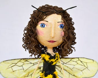 Bumble Bee Doll OOAK Paper Mache Fairy Luxury Dolls Handmade Art Doll Spring Doll Collectible Dolls Fantasy Creatures Unique Gifts for Women