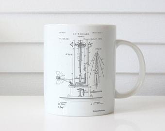 Windmill 1883 Patent Mug, Farmhouse Decor, Farm Windmill, Barn Mug, Antique Windmill, Farm Mug, PP0026
