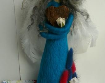 Angel/ Needle Felted Figurine/ Grey Hair/ Christmas/ Decor/ Home decor