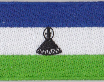 Flag of Lesotho Iron On Patch 2.5 x 1.5 inch Free Shipping (Small)