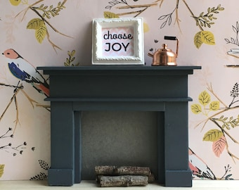 Dollhouse Fireplace, Miniature Fireplace, Dollhouse Accessory, Dollhouse Furniture, Charcoal Grey, 1:12 Scale