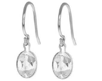 White Gold 2 Carat White Sapphire Dangle Earrings .925 Sterling Silver Rhodium Finish
