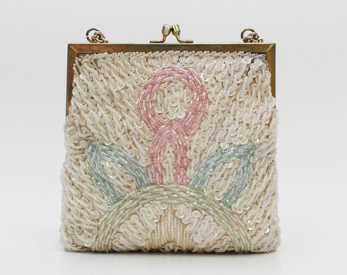 Pastel Beaded Handbag - Vintage 1960s  Ivory Beaded Purse