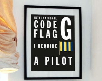International Code Flag - Letter G - Father's day - Your Initials in Flags- I require a pilot