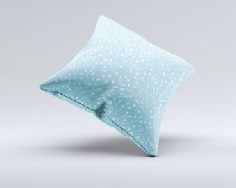 Light Blue Blossum Twigs ink-Fuzed Decorative Throw Pillow