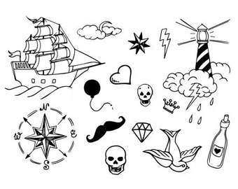 Sets Old School Temporary Tattoos