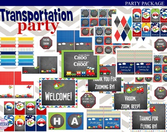 Transportation Chalkboard Birthday Party Instant Download Printable Party Package, planes, trucks, cars, helicopters, trains, DIY