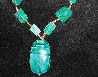 Vintage Scarab Egyptain Style Long  Necklace