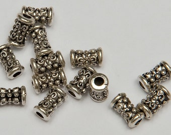 34 Butterfly Pattern Tube Beads in Antiqued Silver Tone, Lead/Nickel Free Base Metal Beads, M0447-AS