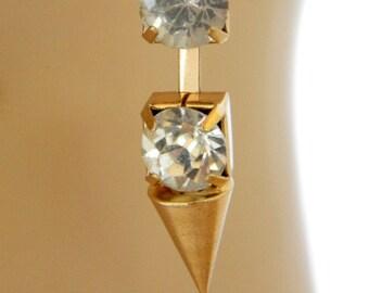 "Vintage 80s Rhinestone Dangle Earrings Geometric Cone Shape 2"", Hook Earrings, 80s Earrings, Gold Tone, Costume Jewelry, Free Shipping"