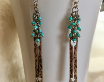 Boho earrings, turquoise earrings, dangle earrings, hippie earrings