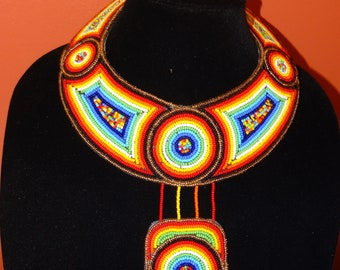 Colorful African beaded necklace