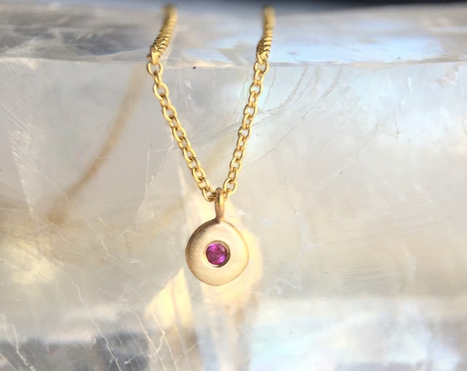 Gold Hot Pink Sapphire Pebble Charm Necklace