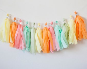 Yellow, Apricot, Coral, Mint, Celery Tassel Garland (15)