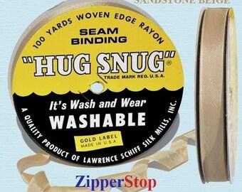 "Sandstone Beige 019 - Hug Snug Seam Binding 100 yard roll 1/2"" Wide - 100% Woven-Edge Rayon - Great Embellishment or Hem Tape"