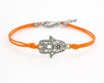 Hamsa Hand Bracelet, Bright Orange Waxed Cord Bracelet, Hand of Fatima Bracelet, Friendship Bracelet