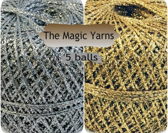 Brocade yarn, lot of 5 skeins, lurex yarn, sparkle yarn,gloss and shine brocade yarn,lurex,lame yarn,metallic thread,gold,silver,lace, 2 ply