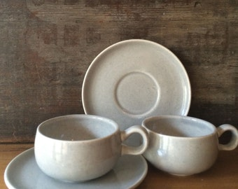 Russel Wright Demitasse Espresso Cup and Saucer, Granite Grey American Modern  Steubenville