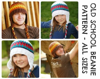 CROCHET HAT PATTERNS Old School Beanie - Adults and Kids Sizes