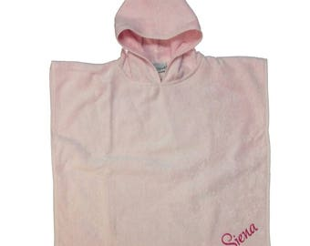 Personalized velvet terry baby poncho, cotton velvet terrycloth poncho, baby poncho, baby towel, hooded towel, velvet towel, name embroidery