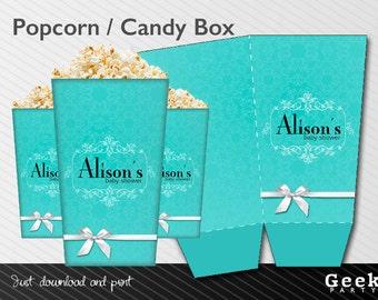 Blue Baby/Bridal Shower Popcorn / Candy Box - Printable - New Baby - Birthday - Sweet Sixteen - Shower