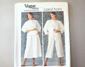 Vogue 80s Carol HornSewing 1347 Size 14, Womens Lagenlook Jacket, Blouse, Skirt & Pants Dolman Sleeves Vogue