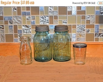 Memorial Day Sale Two Old Vintage Blue Glass Quart Size Ball Perfect Mason Jar w/ Zinc Lid plus 1/2 Pint Milk Bottle and Snuff Jar w/ Lid