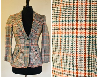 Vintage Collegetown Blazer Wool Plaid Green Orange Tan Brown Preppy 1970s