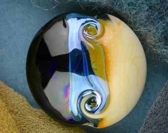 """Handmade Lampwork Beads """"Cappuccino"""" SRA Glass Focal Bead Lentil ~ OOAK Textural Organic Silver Glass Lustre ~ Warm Neutrals"""