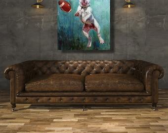 Hail Mary Dog & Football Man Cave Wrapped Canvas Art