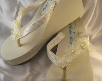 SALE Ivory Flip Flops - White Flip Flops with Organza Flowers and Pearls