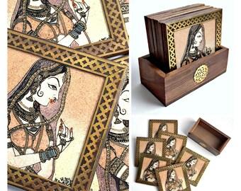Gorgeous Coaster Set, Indian Goddess Wood Brass Coaster Set, 7pc Coaster Set, Wood Coaster Set, Wood Brass Coasters Set, Vintage Coasters