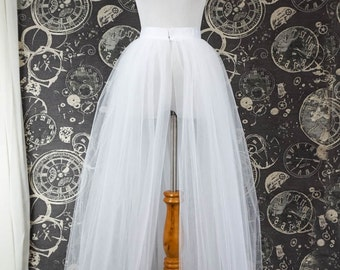 White Tulle Over Skirt with Slit - Adult Full Length Tutu, Wedding Skirt Overlay with Ribbon Waist - Custom Made to Your Measurements