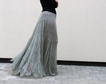 Long Grey Skirt with Lace