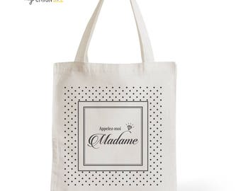 Tote Bag wedding call me Madam, romantic gift, statement, typography, quote