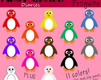 Rainbow Penguin Digital Clip Art Set -- Buy 2 GET 1 FREE