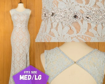 Vintage Evening Gown 90s Lace Dress Baby Blue Open Back Rhinestones Mermaid Bodycon Long Dress ~ Hey Sunshine