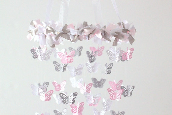 Pink & Gray Nursery Butterfly Mobile Photography Prop Baby