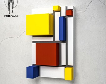 Papercraft Wall Art, 3D Mondrian Print, Mondrian Papercraft DIY, template 3D, DIY Papercraft, Papercraft Head, Low Poly, Eburgami, Home