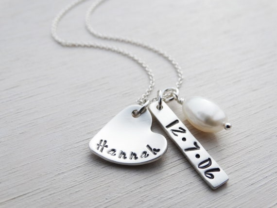 Personalised Necklace, Heart, Tag & Pearl, Sterling Silver